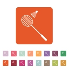 The badminton icon sport symbol flat vector