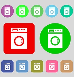 Washing machine icon sign 12 colored buttons flat vector