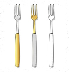 Set realistic sketch forks plugs to create design vector