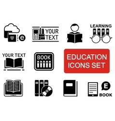 Education icon set with red accent vector