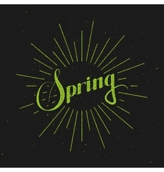 Spring season retro label with light rays vector
