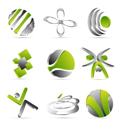 Green business icons design vector