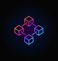 blockchain colorful line icon or logo vector image vector image
