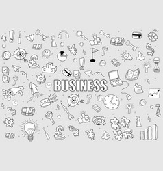 Business doodles objects background drawing by vector