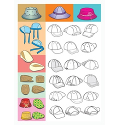 cartoon hats vector image vector image