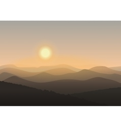Cartoon mountain landscape in sunrise Background vector image vector image