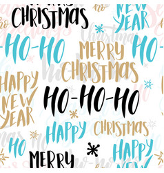 christmas seamless pattern background with hand vector image
