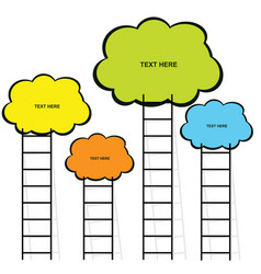 Cloud with stairs set in color vector