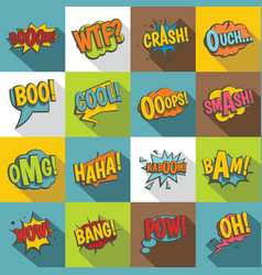 comic colored sound icons set flat style vector image