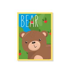 Cute bear with woodland animal vector