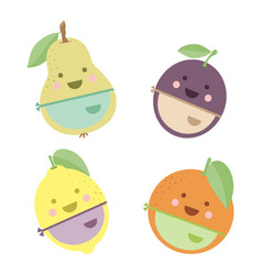 cute fruits chefs vector image vector image