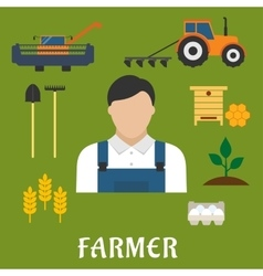 Farmer profession and agriculture flat icons vector