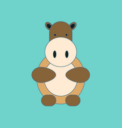 Flat icon on background kids toy hippo vector