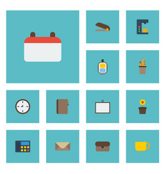 flat icons letter whiteboard contact and other vector image vector image