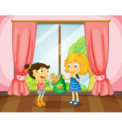 Girls eating cookies in room vector image vector image