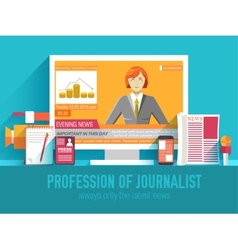 global news information equipment for journalist vector image