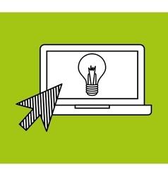 Hand draw laptop creativity social network media vector