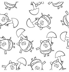 hand draw pig of doodle style vector image