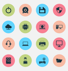 Laptop icons set collection of programmer web vector
