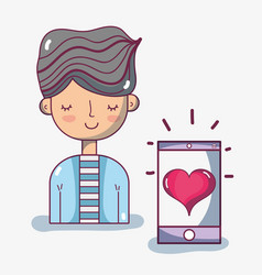 Man with hairstyle and smartphone with heart vector