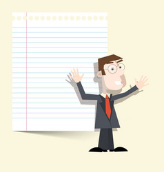Man with notebook paper vector