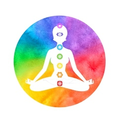 Meditation aura and chakras vector image