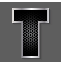 Metal grid font - letter t vector