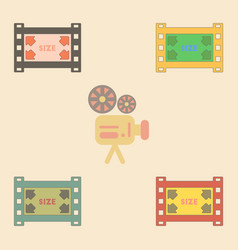 Movie frame collection in flat vector