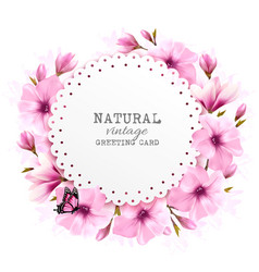 Natural greeting card with pink flowers and vector