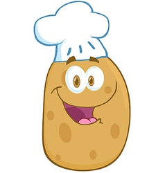 Potato Cartoon Mascot Character With Chef Hat vector image