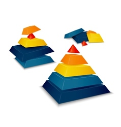 Pyramid assembled and disassembled vector image