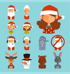 Santa claus avatar face characters face vector