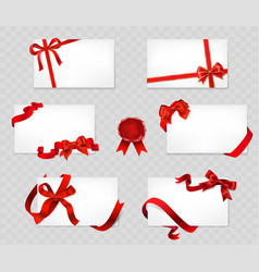 set of white cards with red bows and ribbons on vector image vector image