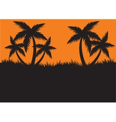 Silhouettes of palm at the morning vector