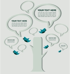 Speech bubble tree with birds infographic vector