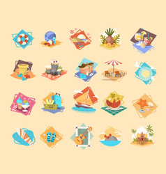 Summer vacation icon set seaside holiday vector
