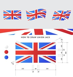 Union jack flag with precise scheme vector