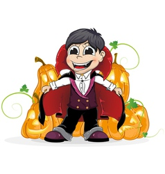 Vampire boy and jack o lanterns vector