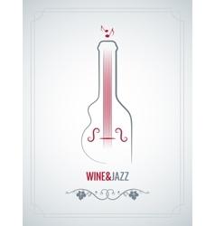 wine bottle jazz design background vector image vector image