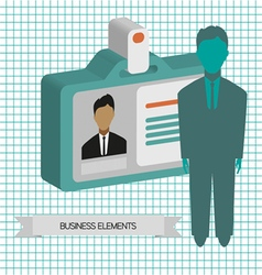 Business infographic with person and badge flat de vector