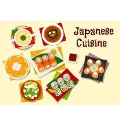 Japanese cuisine sushi and soups for dinner menu vector