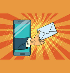 You email or a message in smartphone vector