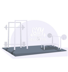 Gym bodybuilding and weightlifting interior vector