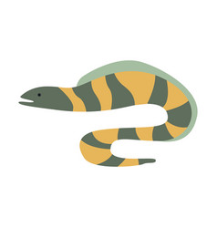 Grey and yellow stripy moray eel part of vector