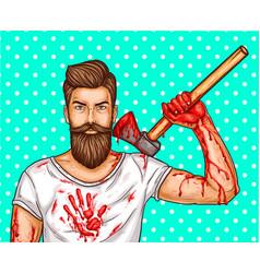 Pop art brutal bearded man with blood vector