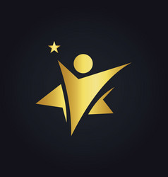 Star people winner abstract gold logo vector