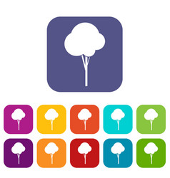 Fluffy tree icons set vector