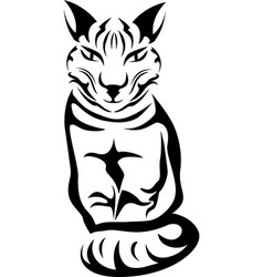 Sitting cat stencil for tattoo vector