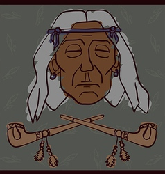 Red indian face with peace-pipes vector