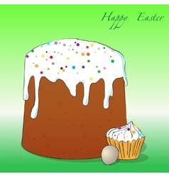 Easter cake cupcake and egg vector